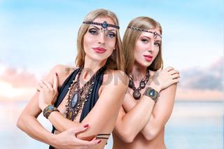 Women at sea resort
