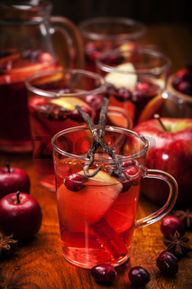 Delicious hot punch for winter and Christmas with fruits and wine