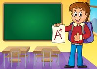 School boy with A plus grade theme 3 - picture illustration.