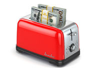 Toaster baking dollars. Financial business concept.