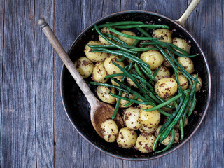 rustic boiled potato in mustard and bean