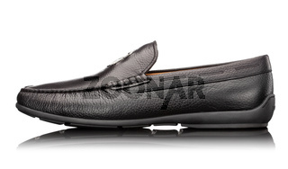 male black leather mocassin isolated on white