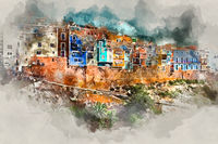 Digital watercolor painting of Villajoyosa town, Costa Blanca. Spain