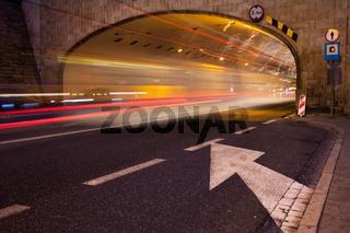 Night Traffic Light Trails in Warsaw