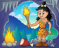 Cave woman theme image 1 - picture illustration.