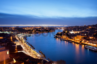 Porto and Gaia at Dusk in Portugal