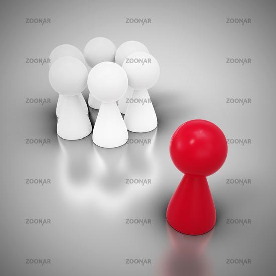 Konzept mit Spielfiguren - Der Aussenseiter