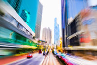 Hong Kong. Abstract cityscape traffic with moving cars