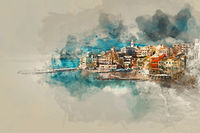 Digital watercolor painting of Bogliasco. Italy