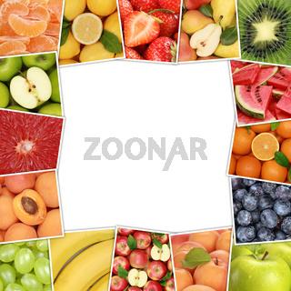 Rahmen aus Früchte und Obst wie Apfel, Erdbeere, Orange, Zitrone mit Textfreiraum