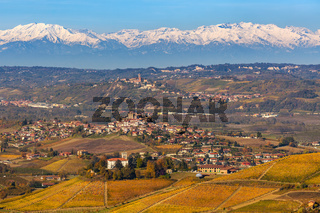 Autumnal hills and vineyards of Piedmont, Italy.