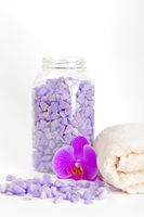 Salt, towel and orchid