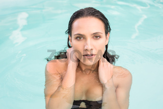 Beautiful woman in bikini relaxing