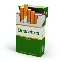Pack of cigarettes on white isolated background.
