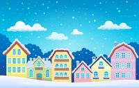 Stylized town in winter - picture illustration.