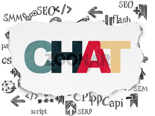 Web design concept: Chat on Torn Paper background