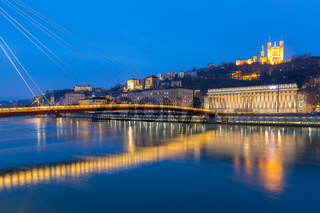 Lyon Saone river Fourviere Notre-Dame