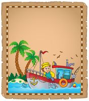 Parchment with fishing boat theme 3 - picture illustration.