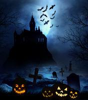 Wooden floor with spooky Halloween background