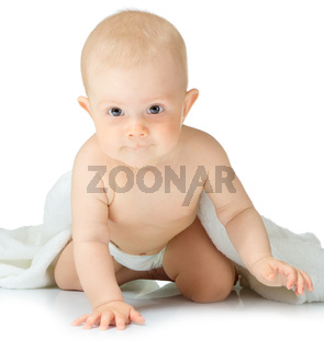 Little baby with towel isolated