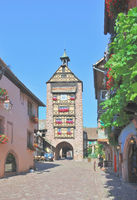 Dolder Tower,Landmark in Wine Village of of Riquewihr in Alsace,France