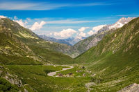 Winding pass road at Gotthard, Andermatt, Switzerland