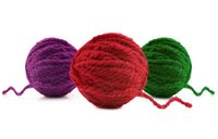 Multi-colored balls of wool