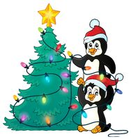 Penguins near Christmas tree theme 1 - picture illustration.