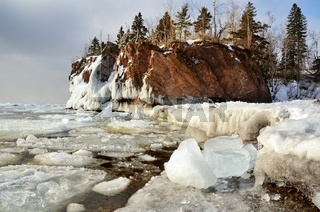 Ice and Rocky Shoreline in Winter