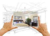 Hands Framing Custom Bedroom Drawing Photograph Combination