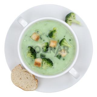 Brokkolisuppe Brokkoli Suppe in Suppentasse von oben Freisteller