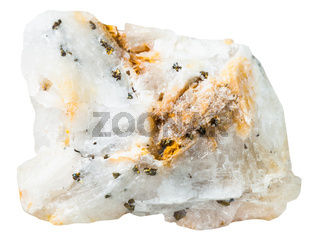 pyrite crystals in silica mineral stone isolated