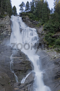 Unterer Krimmler Wasserfall im Winter, Krimml, Pinzgau, Nationalpark Hohe Tauern, Salzburg, Österreich, Europa