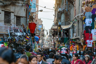 Busy street in Asan, Kathmandu, Nepal