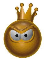 smiley mit krone guckt böse - 3d cartoon illustration