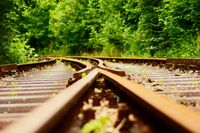 Flat angle via a switch in the train track with blur