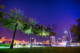 skyline and river coast scenes in Jacksonville Florida