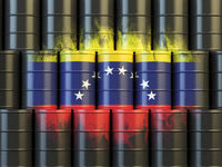 Oil fuel of Venezuela energy concept. Venezuelan flag painted on oil barrels.