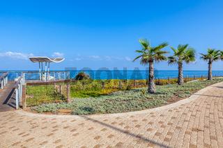 Promenade and viewpoint over shoreline in Ashkelon, Israel.
