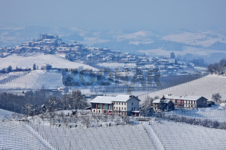 Snowy hills of Piedmont, Italy.