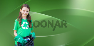 Composite image of happy little girl collecting rubbish