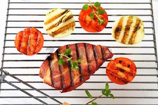 Grilled pork neck steak