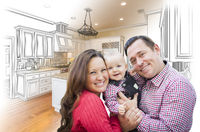 Young Family Over Custom Kitchen Design Drawing and Photo Combination