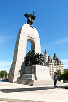 National War Memorial and Chateau Laurier Hotel in Ottawa