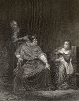 Cardinal Beaufort interrogating Joan of Arc in prison, scene from Henry VI, Part 1, a history play by William Shakespeare