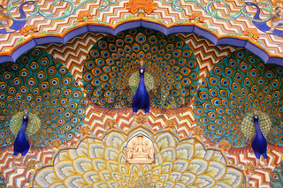 Close up of Peacock Gate in Pitam Niwas Chowk, Jaipur City Palace, Rajasthan, India