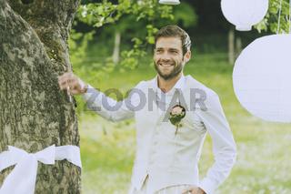 Garden Wedding Groom