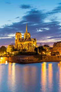 Notre Dame Cathedral Paris dusk