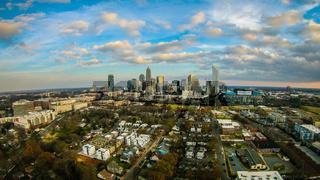 aerial over charlotte city north carolina