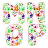 Alphabet with floral pattern